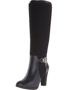 Clothing, Shoes & Accessories Calvin Klein Black Leather Nappa Elastic Tall Knee High Boots Heel Size 6 M Selected Material