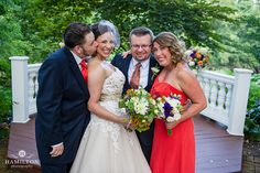 Cute formal photo of bride and groom with their best man and maid of honor. More at www.hamiltonphotography.net