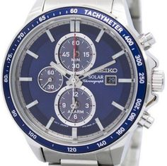 Seiko Men& Solar Chronograph Watch - In Stock, Free Next Day Delivery, Our Price: Buy Online Now Stylish Watches, Cool Watches, Seiko Solar, Seiko Men, Seiko Watches, Chronograph, 100m, Top Top, Stuff To Buy
