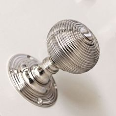 Nickel plated solid brass pair of door knobs with elegant reeding to the round ball shape door handles and backplates. Hand crafted in a UK foundry these door knobs are superbly made, weighty and a joy to use. Internal Door Handles, Front Door Handles, Internal Doors, Victorian Doors Internal, Door Pulls, Victorian Interior Doors, Georgian Doors, Silver Door Handles, Wardrobe Door Handles