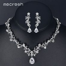 Mecresh Luxury Cubic Zirconia Bridal Jewelry Sets Leaf-Shape Crystal Rhinestone Female Party Jewelry Necklace Sets MTL486(China (Mainland))