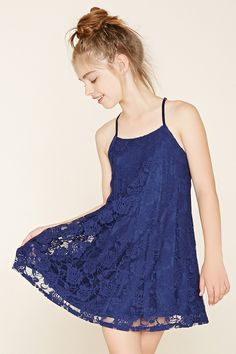 For the flower girls    Forever 21 Girls - A knit floral lace dress with adjustable cami straps and an A-line silhouette.