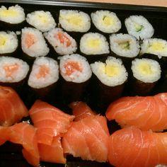 Sushi, oshinko, salmon and cucumber