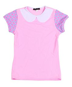 Look at this Light Pink Heart Collar Rashgaurd - Girls on #zulily today!