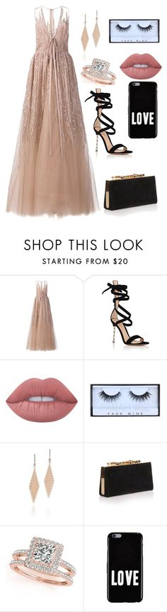 """Untitled #316"" by catarina-de-sousa-lopes on Polyvore featuring Elie Saab, Gianvito Rossi, Lime Crime, Huda Beauty, Tiffany & Co., Jimmy Choo, Allurez and Givenchy"