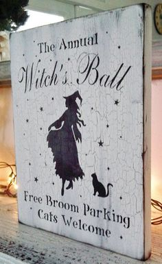 The Annual Witch's Ball - Free Broom Parking, Cats welcome. I should have an all-girl Halloween party where everyone comes as a witch :) Fete Halloween, Halloween Signs, Halloween Projects, Holidays Halloween, Spooky Halloween, Vintage Halloween, Happy Halloween, Halloween Decorations, Halloween Costumes