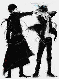 Ao no exorcist or Blue exorcist. Rin and Yukio