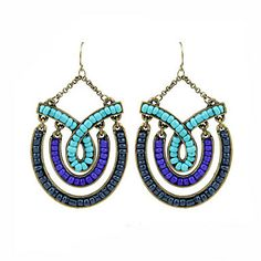Vintage Hollow Shape With Gem (Oval) Silver Alloy Drop Earrings(Red,Blue,Black) (1 Pair) – USD $ 7.99