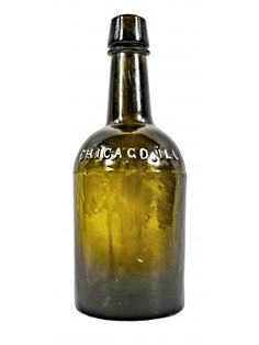exceptionally rare all original olive green color c. 1860 pre-civil war unearthed chicago michael keeley ale bottle with smooth base and sloping…