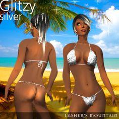 Glitzy Silver Uber Sexy Micro Bikini