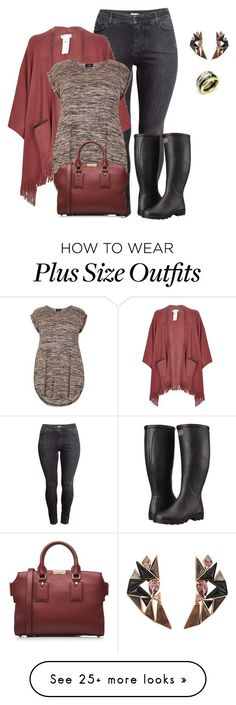 """plus size poncho style look2 casual chic"" by kristie-payne on Polyvore featuring H&M, Le Chameau, River Island, JewelGlo, Nak Armstrong and Burberry"