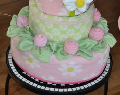 Baby Washcloth Roses with Leaves Instructional Video (Thin) | Diaper Cake Patterns & Videos