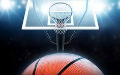 Basketball hoop and basketball silhouette on blue