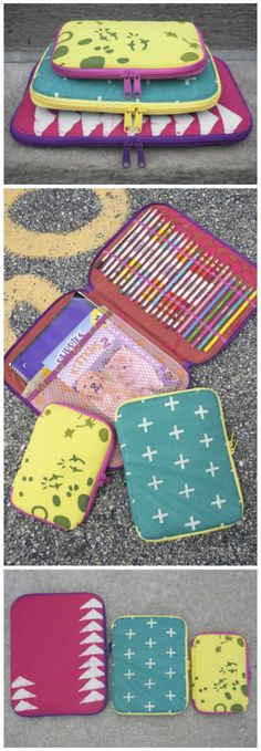 Sewing pattern for 3 different sizes zipper cases. Perfect for organisers, kids art supplies, diabetic supplies case, sewing supplies, crochet etc. Got to have this pattern in your stash.