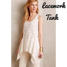 NWT Anthropologie Lacework Tank - Size Large Stunning sleeveless tunic by Anthro brand Vanessa Virginia. White lacy fabric is sheer, so you may want to wear a neutral colored tank underneath. This tunic drapes so beautifully and is just such an elegant piece. Looks amazing under a flowy cardigan, or on its own with a statement necklace. This is a size large and fits like an XL, as the fit is very flowy. New with tags. Anthropologie Tops Tunics