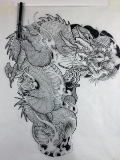 Dragon Tattoo Full Back, Dragon Tattoo Sketch, Asian Dragon Tattoo, Dragon Sleeve Tattoos, Japanese Dragon Tattoos, Japanese Tattoo Art, Japanese Tattoo Designs, Tattoos Skull, Japanese Sleeve Tattoos