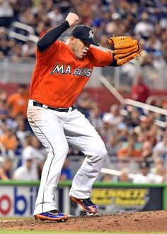 Pitching a shutout:     Miami Marlins starting pitcher Jose Fernandez reacts during the seventh inning against the New York Mets at Marlins Park in Miami on June 5. The Marlins won 1-0.