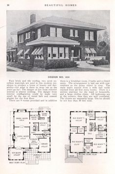 Beautiful Homes - Design No. Victorian House Plans, Vintage House Plans, 1920s House, Vintage Homes, Sims House Plans, House Floor Plans, Vintage Architecture, Street House, House Blueprints