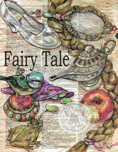 6 x 9 Print of Original, Mixed Media Drawing on Distressed, Dictionary Page This drawing of images from popular fairy Tales is drawn in sepia ink Book Page Art, Book Art, Altered Books, Altered Art, Newspaper Art, Fairytale Art, Fairytale Drawings, Dictionary Art, Middle School Art