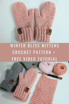 Winter Bliss Mittens - Crochet Pattern - MJ's off the Hook Designs Crochet Mittens Free Pattern, Crochet Gloves, Crochet Stitches, Crochet Patterns, Pattern Sewing, Crochet Designs, Crochet Gifts, Diy Crochet, Crochet Hooks