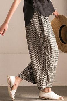 Lovely Black White Grid Wide-legged Pants Linen Casual Trousers K107B