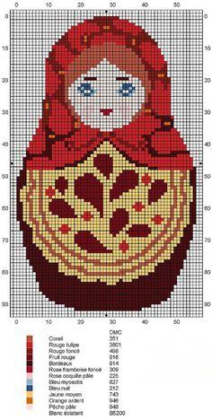 Matryoshka Russian Doll. Cross stitch chart. #cross_stitch