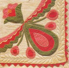 Rose of Sharon with Buds detail, 1860. Made by Margaret Wright Dickerson. Missouri.