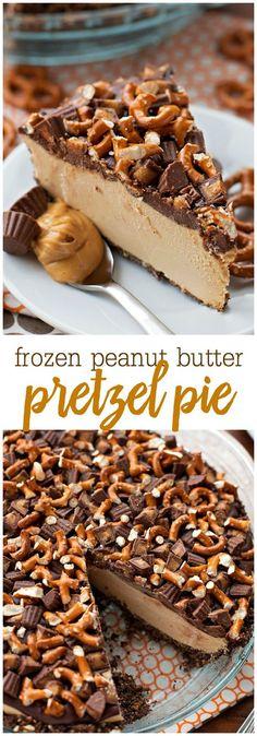 Frozen Peanut Butter Pretzel Pie - an AMAZING frozen dessert consisting of a…