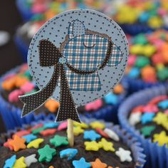 Topper Cupacke cavalinho | Blue and Brown Horse Themed Baby Shower