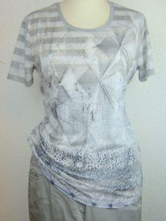 #GerryWeber #G.W. #t-shirt print taupe - licht blauw onderaan