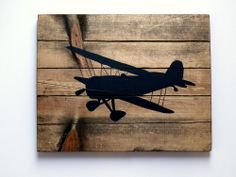 "12x12"" Pottery Barn style wood airplane plaque black barnwood handpainted art"