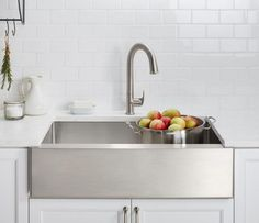 10 Pictures That Will Change Your Mind About Stainless Steel Sinks: Stainless Steel + Apron Sink?  Yes, Here It Is From Kohler.