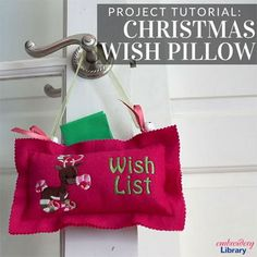 Christmas Wish Pillow (PR1709) from www.emblibrary.com