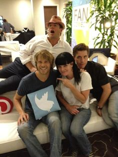 eric christian olsen's with Michael Weatherly, Pauley Perrette and Brian Dietzen
