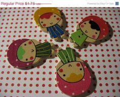 Summers End Sale 4 Kawaii Bonnet Girls Wood Sewing by LunasSecrets, $1.40