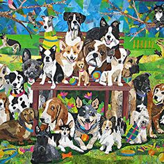 Sunday in the Park with Mittens by Nancy Brown. Mittens sits calmly in the tree watching all the dogs enjoying the dog park