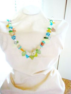 Multicolored czech glass necklace by ShayBelleDesigns on Etsy, $7.00