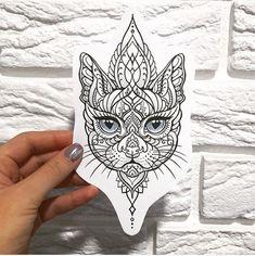 Ideas tattoo ideas cat fun for 2019 Cat tattoo – Fashion Tattoos Tattoo Sketches, Tattoo Drawings, Body Art Tattoos, New Tattoos, Sleeve Tattoos, Cool Tattoos, Woman Tattoos, Gorgeous Tattoos, Butterfly Face
