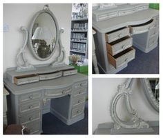 Chalk Paint® by Annie Sloan in Paris Grey dressing table painted by Mr Toad, stockists in Harrogate, Yorkshire, England. Dressing Table Paint, Annie Sloan Paris Grey, Mr Toad, Using Chalk Paint, Yorkshire England, Lavender Blue, Chalk Paint Furniture, Annie Sloan Chalk Paint, Distressed Furniture