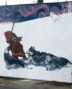 mural de Sainer y Betz (Etam cru) en Bydgoszcz, Polonia Urban Street Art, Best Street Art, Amazing Street Art, Graffiti Murals, Art Mural, Banksy, Grafitti Street, Reverse Graffiti, Outdoor Art