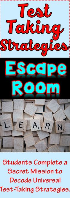 The Test-Taking Strategies Escape Room will take students on a secret mission around the classroom! This escape room has students decode universal testing tips for any subject. Sometimes students just need a day of motivation! Test Taking Skills, Test Taking Strategies, Escape Room, First Day Of School, Middle School, High School, Test Anxiety, Higher Order Thinking, Study Skills