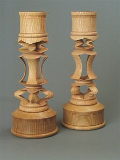 Oak inside-out candleholders