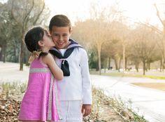 Comunión, hermanos, besos, amor, niños, fotografía