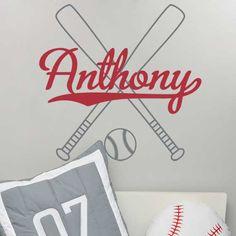 Baseball Wall Decal Boy Name Initial Monogram Sports Wall Decal - Vinyl wall decals baseball