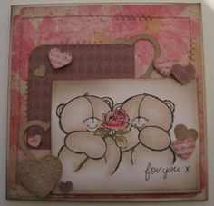 Card with forever friends stamp colored with Derwent pencils.  created by netsoojmik