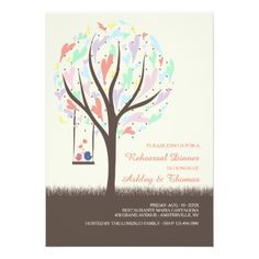 Lovebirds On A Swing Pastel Invitation - invitations personalize custom special event invitation idea style party card cards