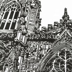 York Minster West Window - Original Hand Pulled Linocut Print by Little Ram Studio Linocut Prints, Art Prints, Block Prints, York Minster, Architectural Prints, Building Art, Religious Art, Woodblock Print, Architecture Art