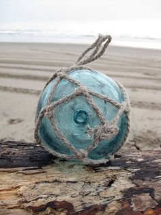 Japanese Glass Fishing Float - Grapefruit Size, Teal Blue, Original Net