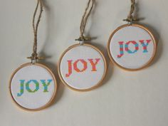 Striped Joy Cross Stitch Christmas Ornament Kit