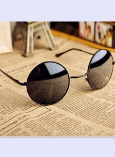 Black Sun glasses - Thin Bar Round Sunglasses